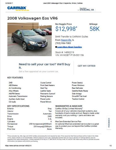 2008 VW Eos VR6 $12,998 58k