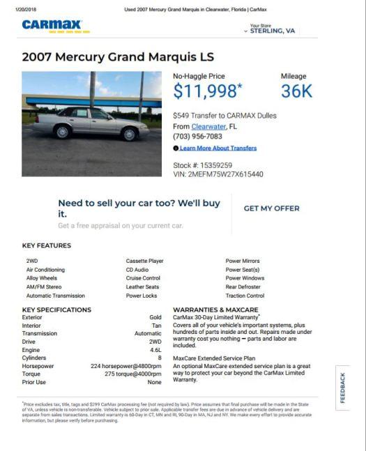 2007 Mercury $11,998 36k