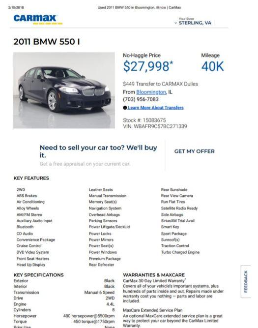 2011 BMW 550 Manual