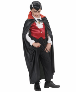 BLACK CAPE WITH RED SATIN COLLAR