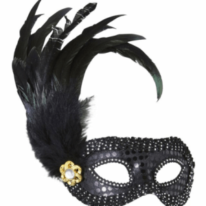 BLACK SEQUIN EYEMASKS WITH JEWEL & FEATHERS
