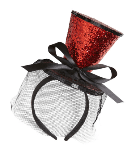RED GLITTER MINI TOP HAT ON HEADBAND WITH BOW & VEIL