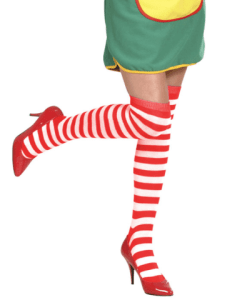 WHITE-RED STRIPED OVER THE KNEE SOCKS