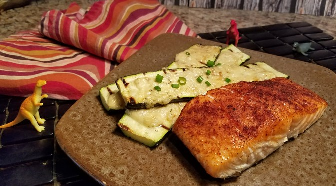 Grilled Salmon and Parmesan Zucchini