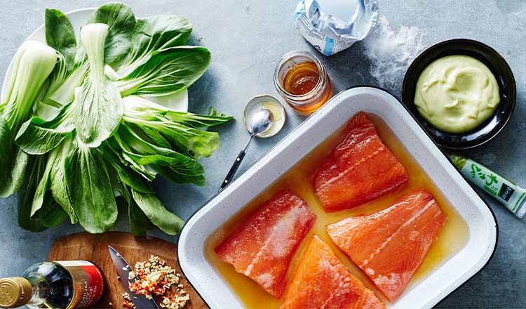 Seafood Recipe Salt, Sugar And Honey–Cured Salmon With Wasabi Mayo