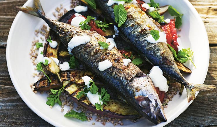 Mackerel with Barley, Eggplant and Garlic Yoghurt seafood recipe