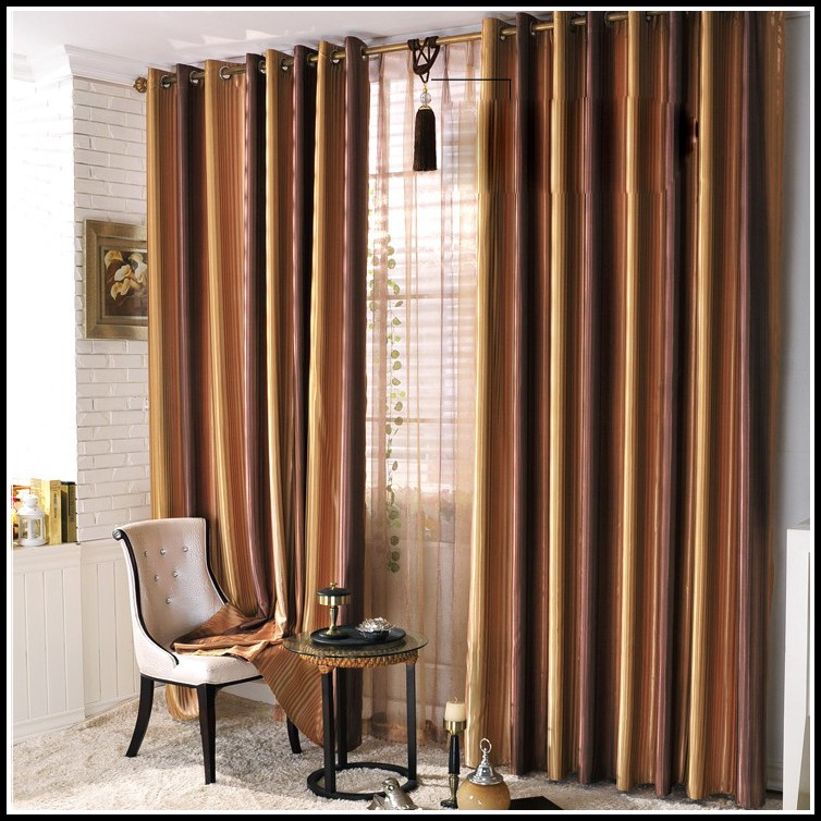 Brown Striped Curtain Panels