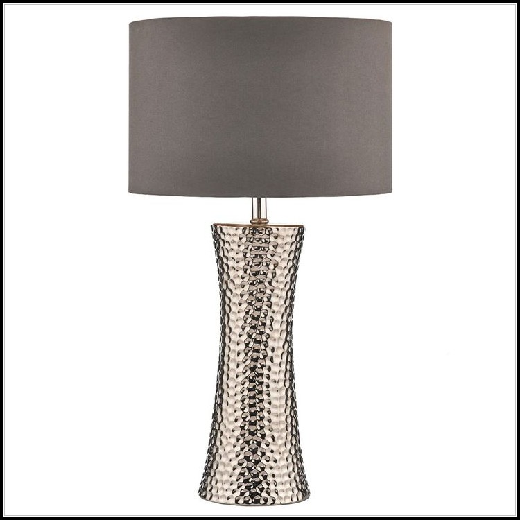 Hammered Silver Metal Table Lamp