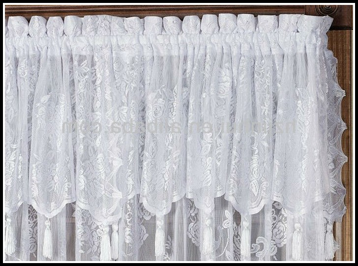 Lace Curtain Panels With Attached Valance