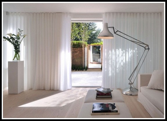 Sliding Door Curtains White