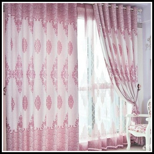 White And Pink Blackout Curtains