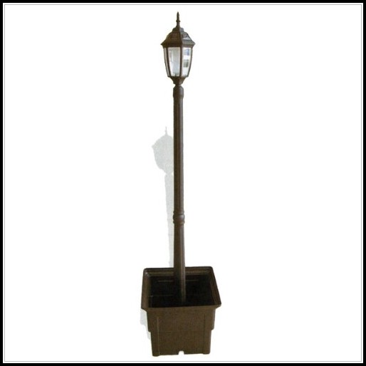 White Solar Lamp Post With Planter
