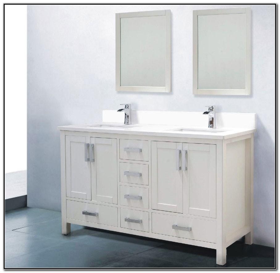 60 Inch Vanity Double Sink White