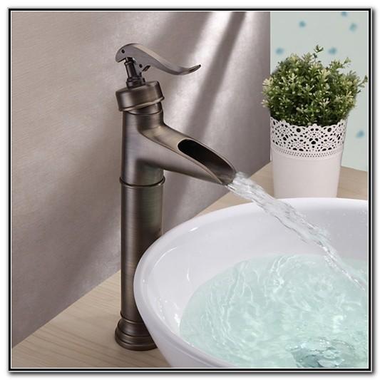 Antique Brass Waterfall Bathroom Sink Faucet