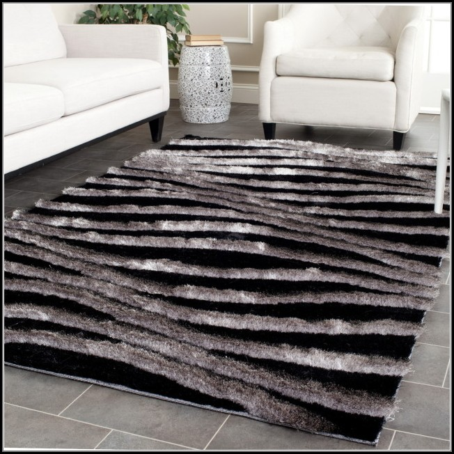 Black And Silver Shaggy Rugs