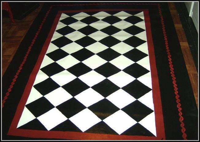 Black And White Checkered Kitchen Rug