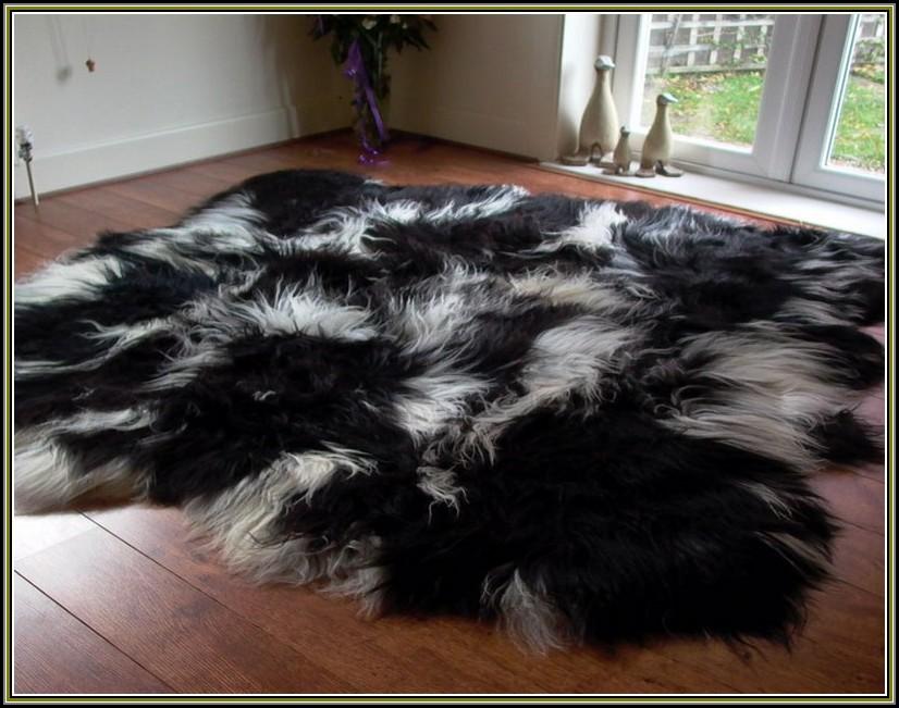 Black And White Sheepskin Rug