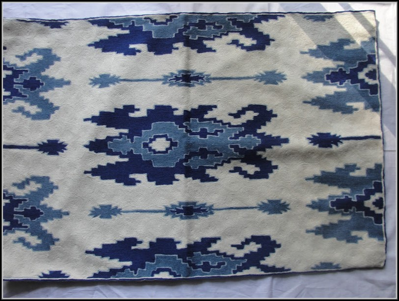 Blue And White Ikat Rug
