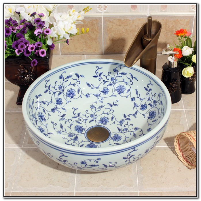 Blue White Porcelain Vessel Sink