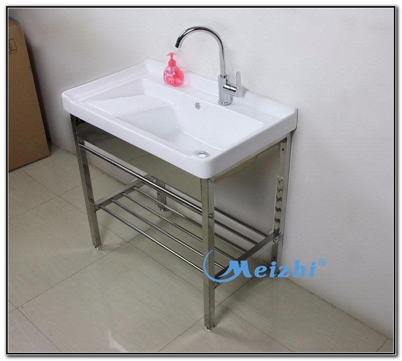Ceramic Laundry Tub With Washboard