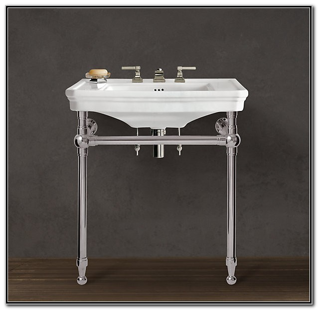 Console Sink With Metal Legs