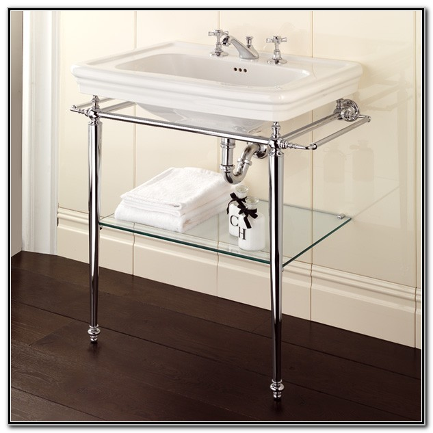 Console Sinks With Chrome Legs