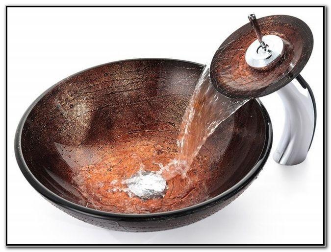Copper Waterfall Faucet Bathroom Vessel Sink