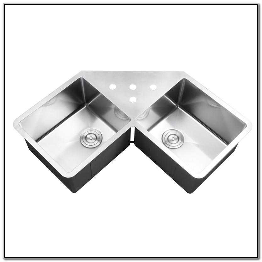 Double Bowl Undermount Corner Kitchen Sink