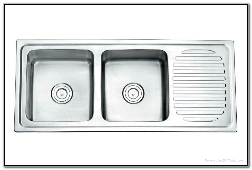 Double Kitchen Sink With Drainboard