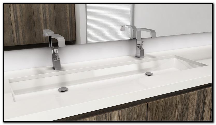 Double Undermount Trough Bathroom Sink