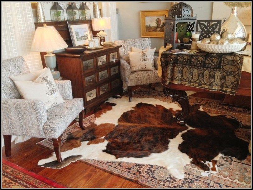 Faux Cowhide Rug Brown And White
