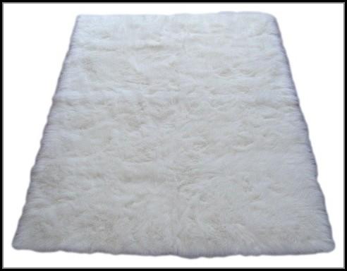 Faux Sheepskin Area Rug White
