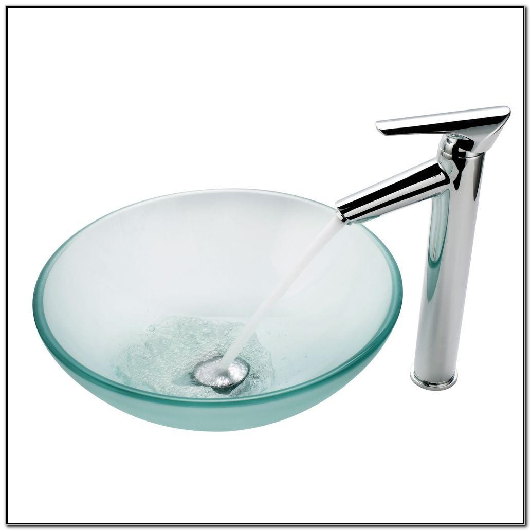 Frosted Glass Vessel Sink With Faucet