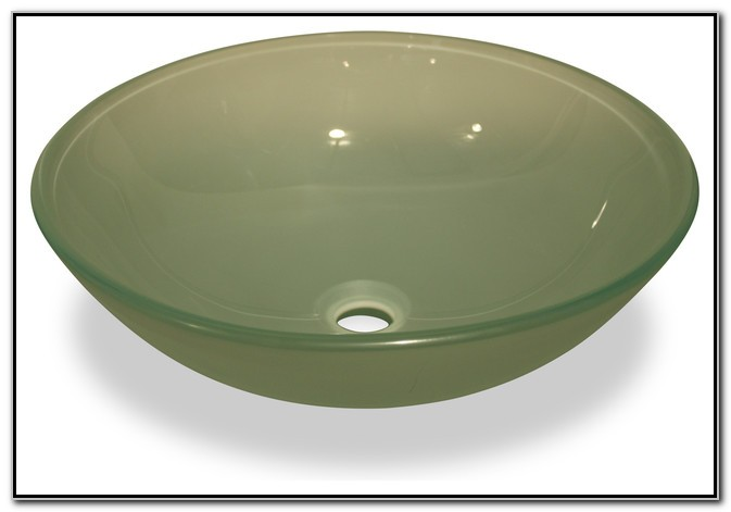 Frosted Green Glass Vessel Sink