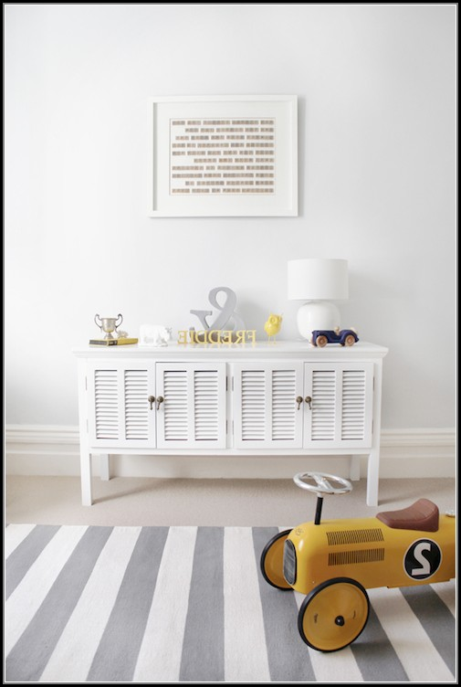 Gray And White Striped Rug