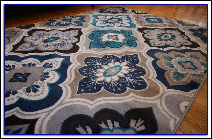Grey And Coral Area Rug