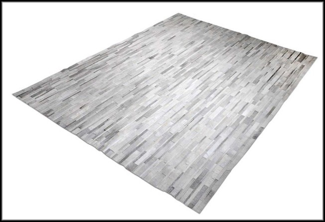 Grey And White Cowhide Rug