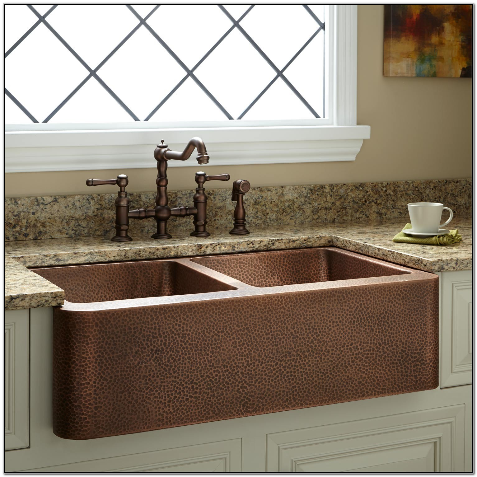 Hammered Copper Farmhouse Sink Double