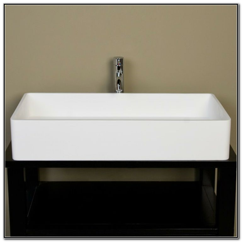 Large White Rectangular Vessel Sink