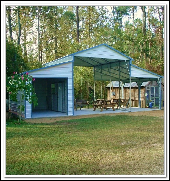 Metal Carport With Storage Shed