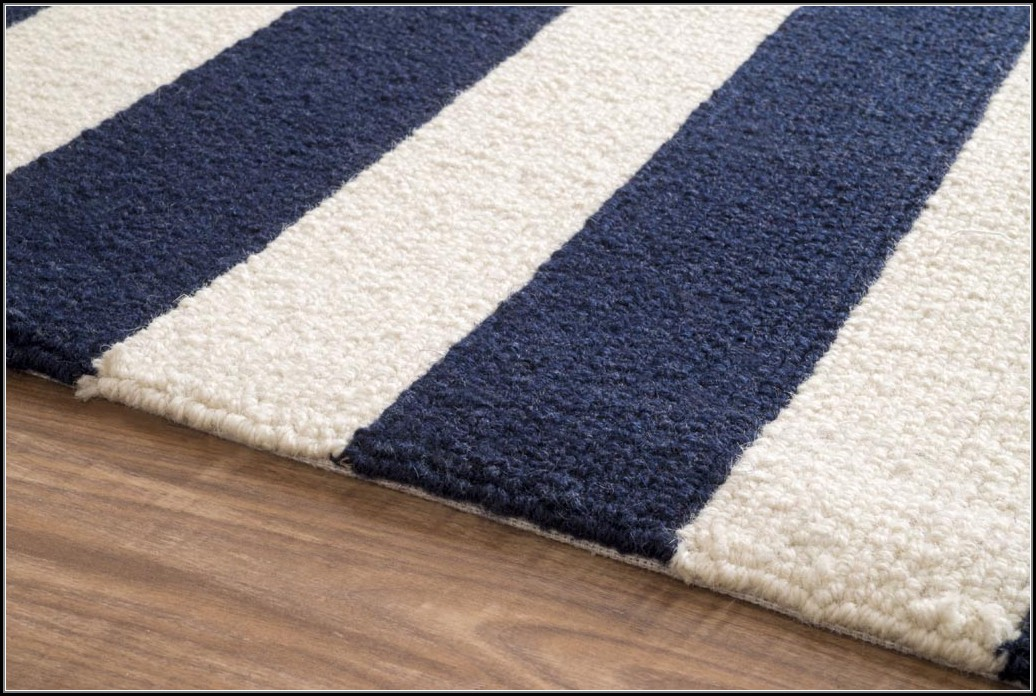 Navy Blue And White Striped Rug
