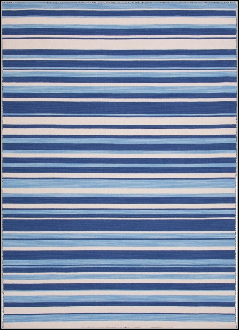 Navy Blue Striped Rug