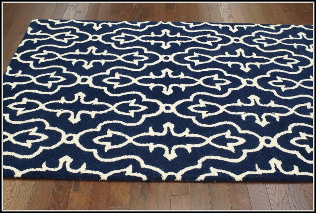 Navy White Bath Rug