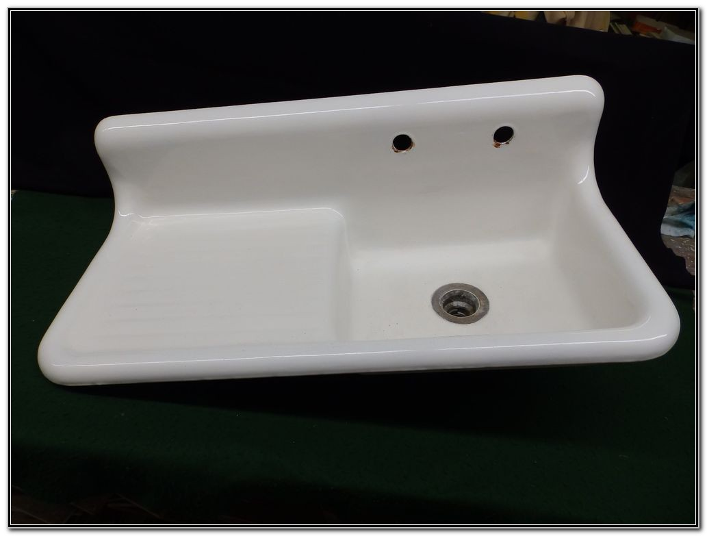 Old Porcelain Sink With Drainboard