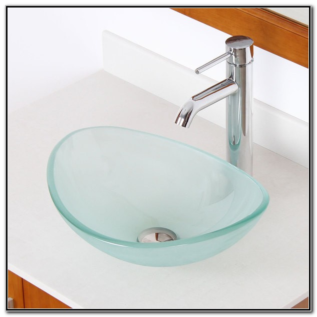Oval Frosted Glass Vessel Sink