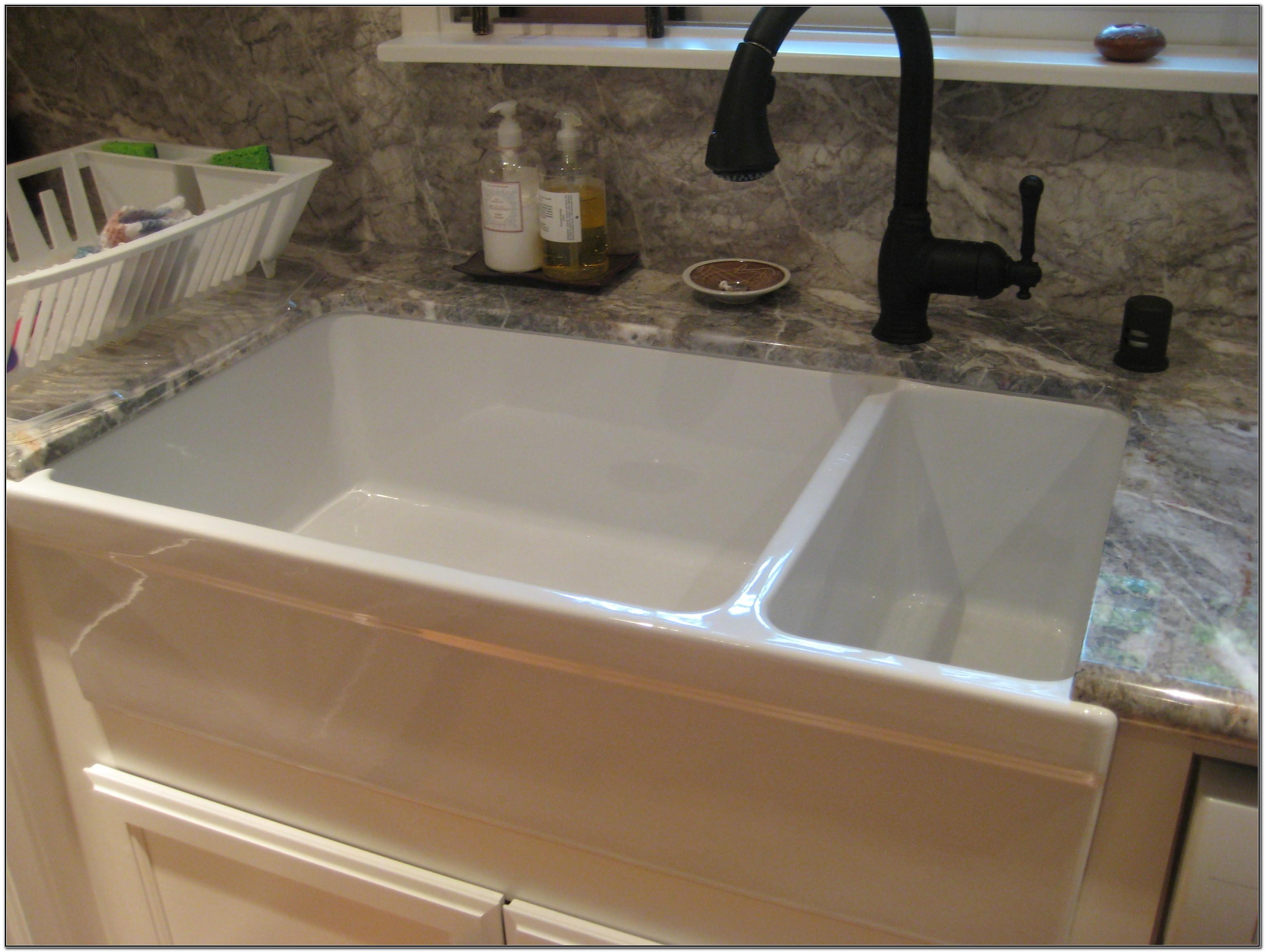 Porcelain Undermount Double Bowl Kitchen Sink