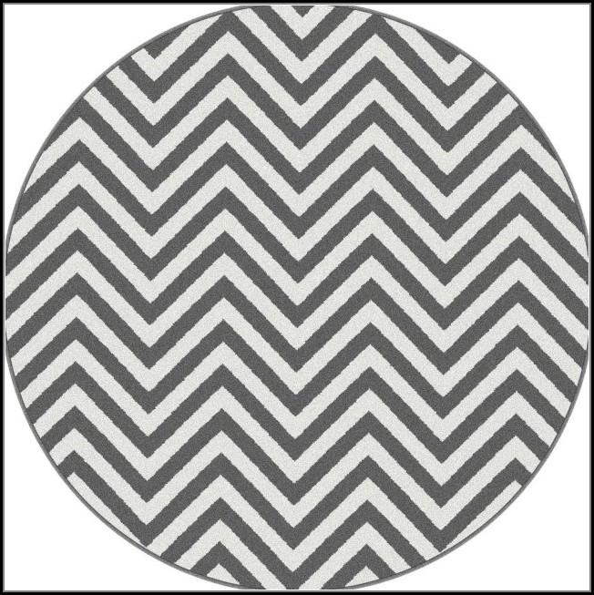 Round Grey Chevron Rug