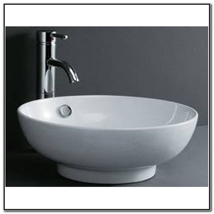 Round White Porcelain Vessel Sink