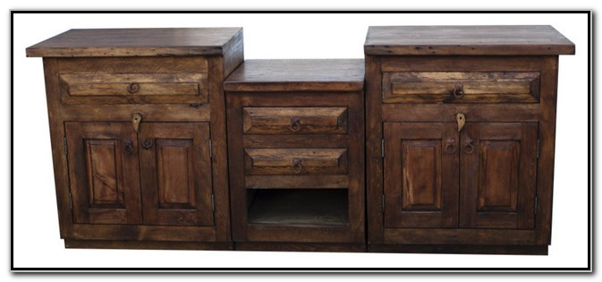 Rustic Wood Double Sink Vanity