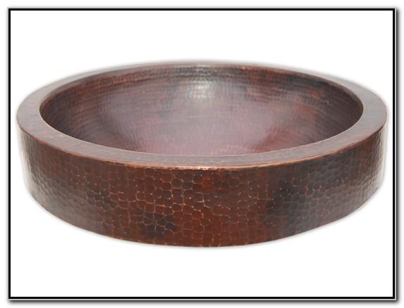 Semi Recessed Copper Vessel Sink